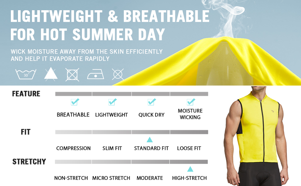 BALEAF Mens Sleeveless Cycling Shirt Bike Jersey Road Riding Lightweight Workout Tank Tops Indoor Pocket UPF50+