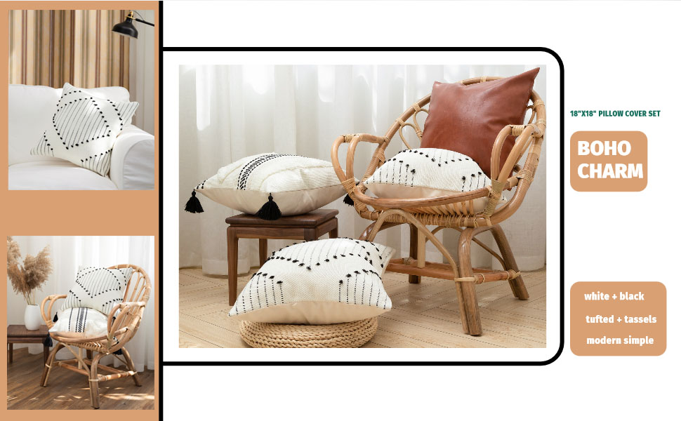 pillow cover boho decor seat kitchen large outdoor rustic protector chair soft cotton woven