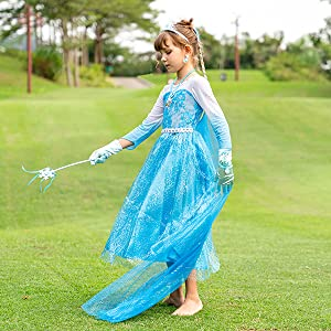FUNNA Elsa Costume for Girls Princess Dress Up Frozen Costume Cosplay Fancy Party