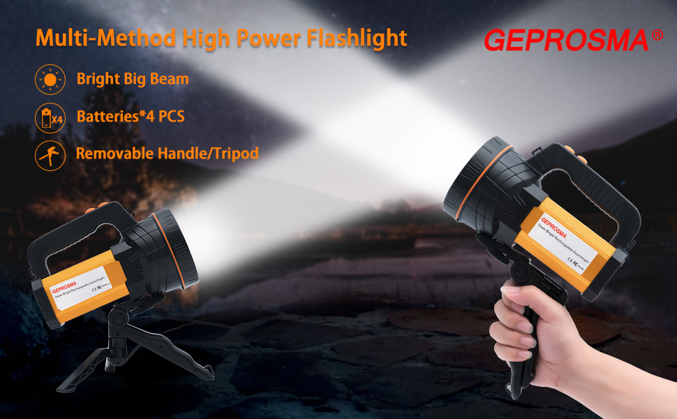 High powered super bright rechargeable led spot light flashlight search light hand held