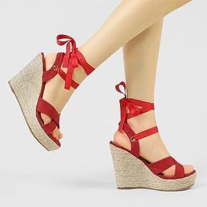 Allegra K Women's Canvas Platform with Wedge Sandals