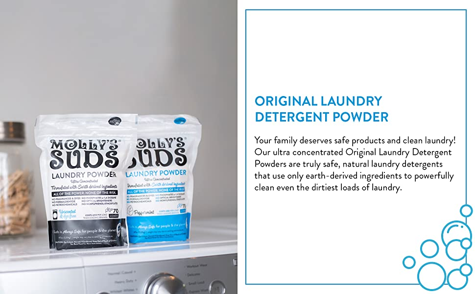 natural, ingredients, laundry, detergent, powder, original, molly's suds, earth-derived, cleaning