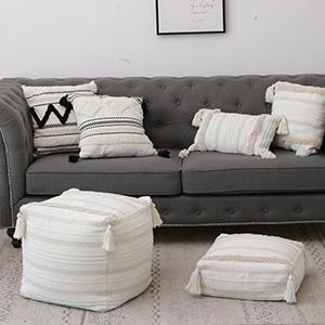 square floor pouf cute boho bohemian stool striped soft cube seating plush furniture