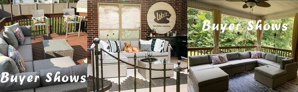 outdoor patio warm gray wicker sectional sofa set