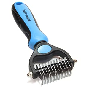 maxpower planet dog rake brush with double sided stainless steel teeth for shedding hair undercoat