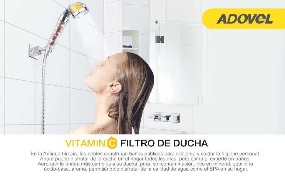 ADOVEL Cabezal de Ducha de Mano con Filtro, Vitamina C Filtros de ...
