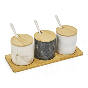 homiu natural marble spice pots with spoons salt and pepper