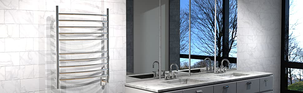 RWH-CP, Radiant Curved Polished, Radiant Hardwired, Amba Heated Towel Rack