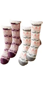 Women Slipper Socks Fleece Lined Unisex Non-Slip Indoor Winter Chunky Socks