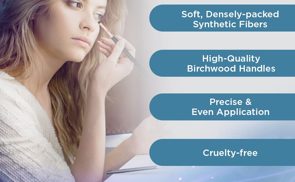 Soft Synthetic Fibers Birchwood Handles Precise Even Application
