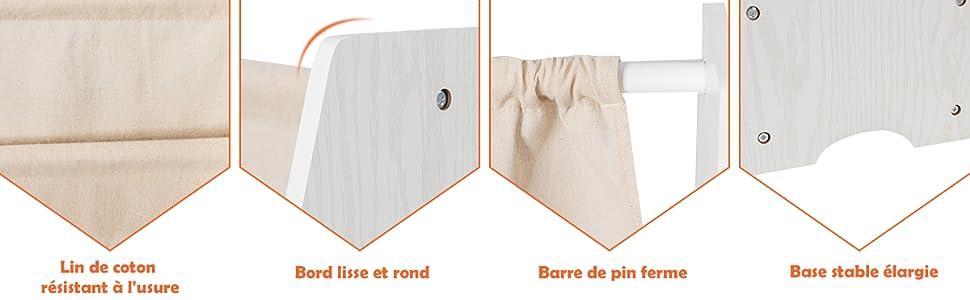 TentHome Biblioth/èque pour Enfants Etag/ères Suspendues /à 6 Niveaux Etag/ère /à Journaux en Bois pour Chambre denfant Blanc
