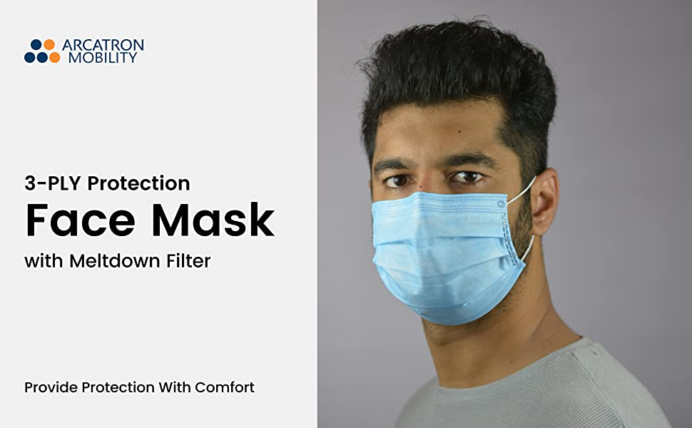 Disposable Surgical Grade 3 Ply face mask with meltblown layer Protective Face cover online in India