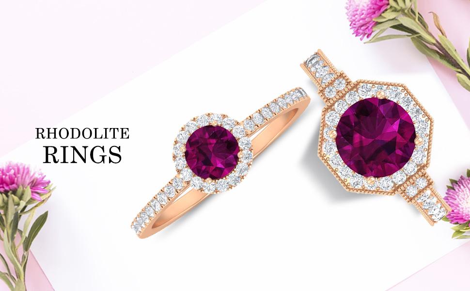 banner Rhodolite Rings