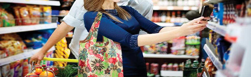 Long strap reusable shopping bags