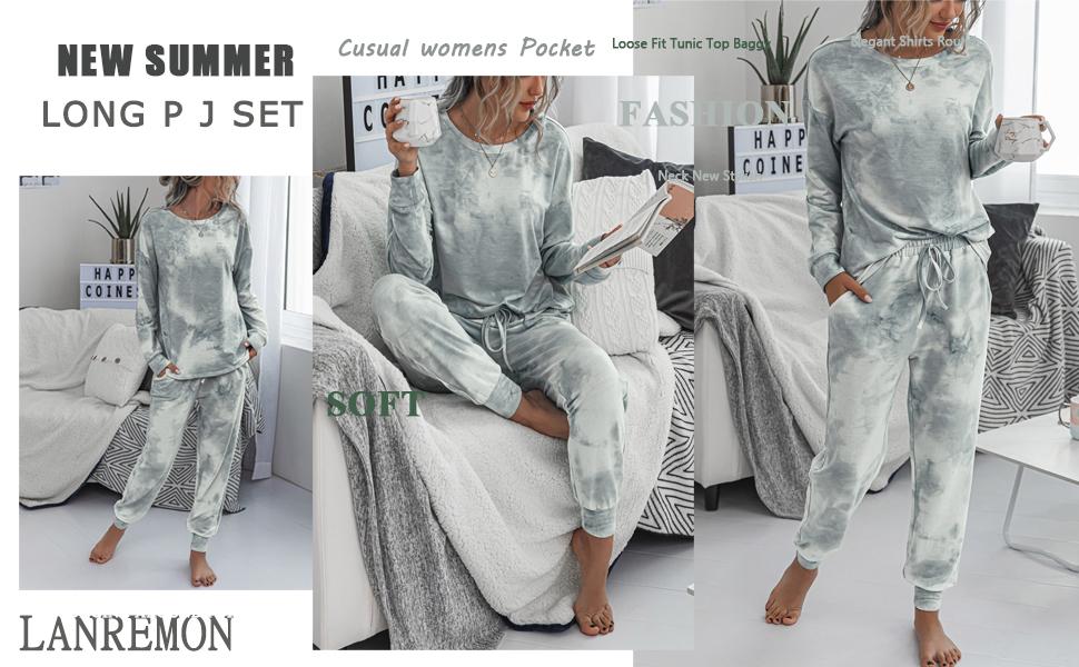 tie dye nightwear loungewear two-piece pajamas for women Long sleeve PJ sets
