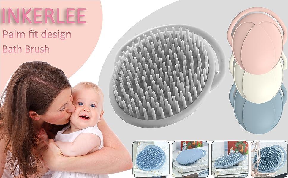 INKERLEE Ergonomic Palm Baby Bath Silicone Hair Brush