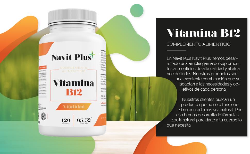 Vitamina B12 Navit Plus | 120 Cápsulas vegetales. Complemento alimenticio con B1, B2, B3 y B6, esenciales para el óptimo cuidado de la salud. Complejo vitamínico natural. Fabricado en España. ISO9001: Amazon.es: