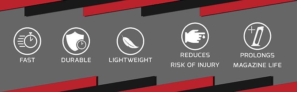 fast durable lightweight reduce injury risk prolongs magazine life