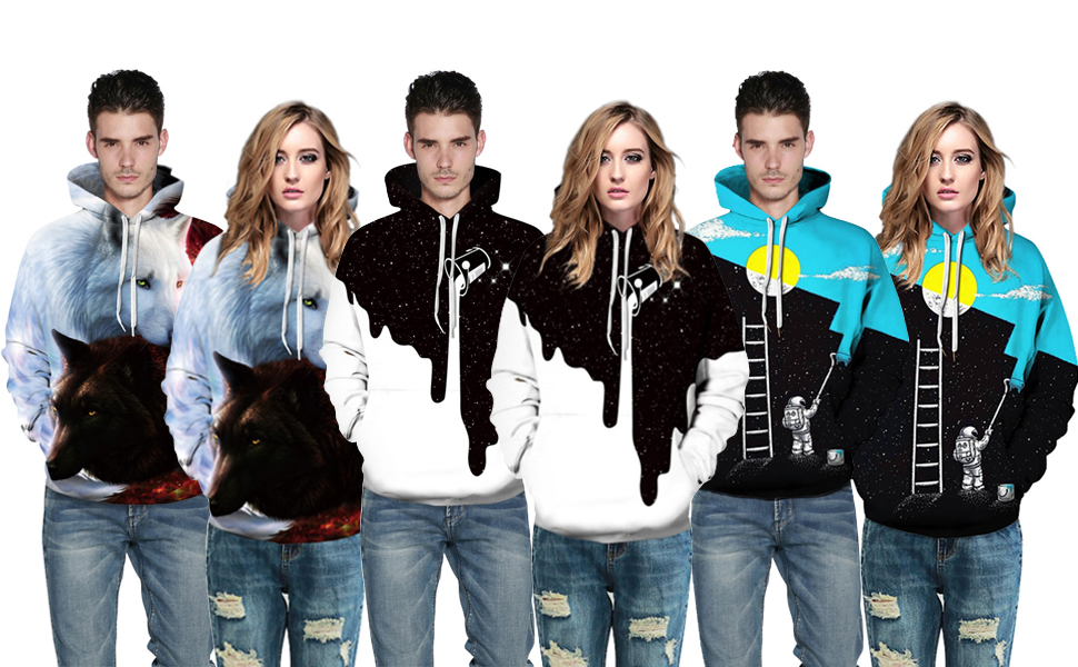 f306054e1de9 FLYCHEN Men's Digital Print Sweatshirts Hooded Top Galaxy Pattern Hoodie