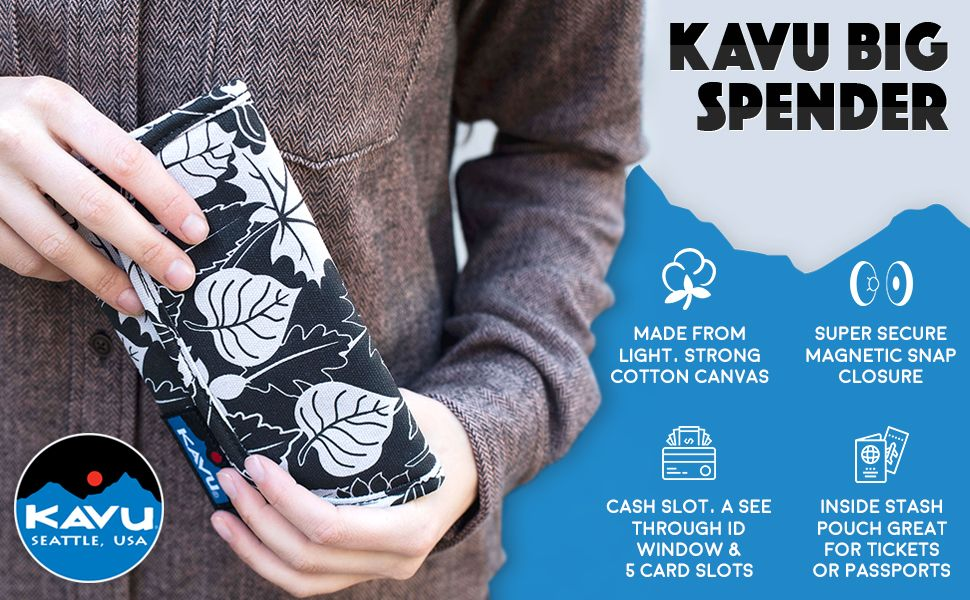 KAVU Big Spender Tri-fold Wallet Clutch Travel Organizer