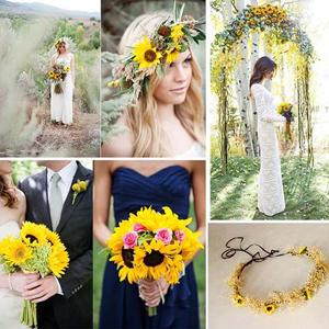 Sunflower Garland Wedding Bride Locket Necklace