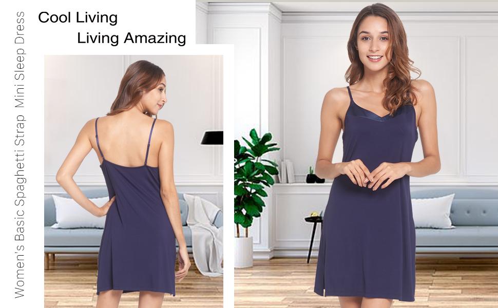 Women's Basic Spaghetti Strap Cami Slip Camisole Mini Sleep Dress S-4X