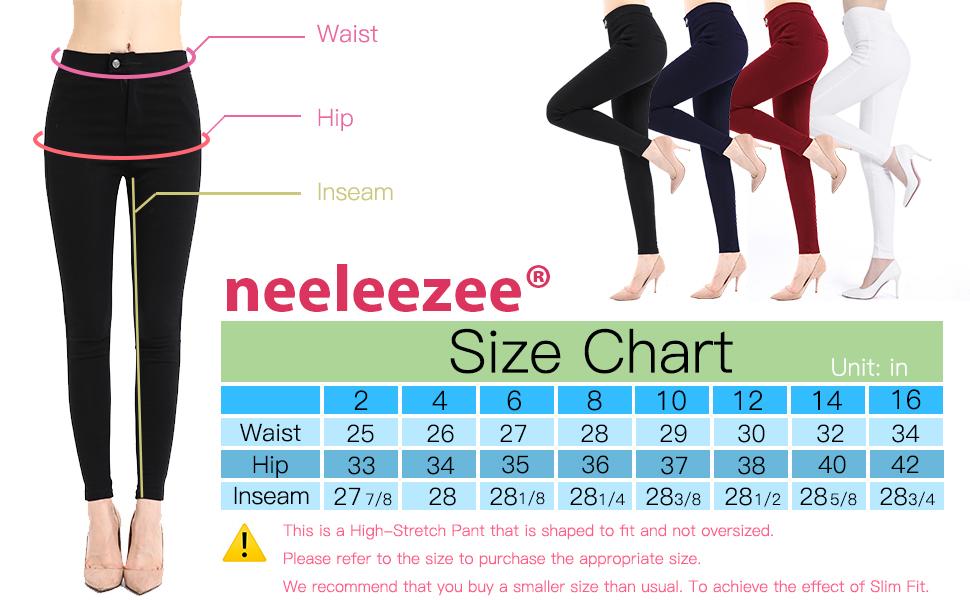black pants for women Size Chart