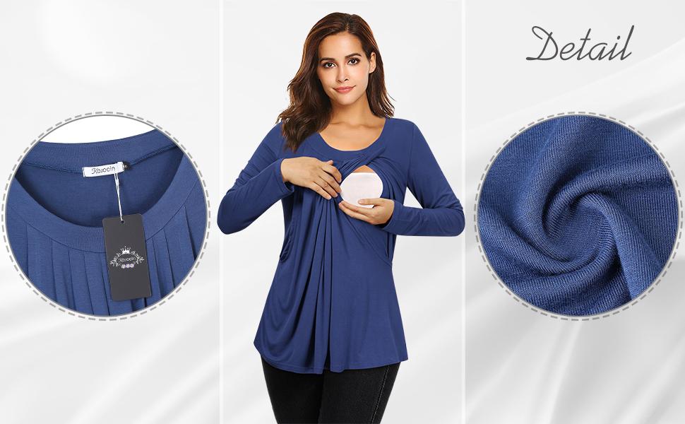 KOJOOIN Damen Stillshirt Umstandsshirt Umstandsmode Umstandstop Mama Schwangerschaft Kleidung Lagendesign Wickeln-Schicht(Verpackung MEHRWEG)