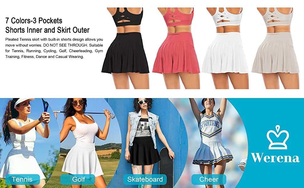 Womens Pleated Tennis Golf Skirts with Pockets Shorts Athletic Running Workout Sports Skorts
