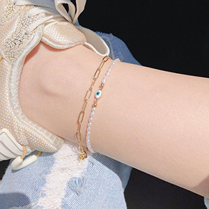 paperclip link chain anklet