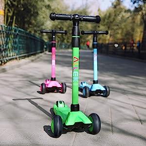 allek scooter B03 green blue pink purple kick push 3 wheel flashing full cover easy disassemble