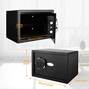 hotel safe  BATHWA Digital Electronic Safe Security Box, Steel Deposit Safe for Home & Office, Cabinet Safe with Keypad for Jewellery Money Valuables, Wall-Anchoring Design, 0.7 Cubic Feet Capacity dd6f1221 b168 4121 9efe c774afa0dbca