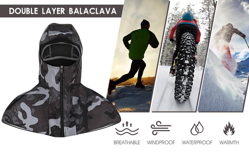 Balaclava Ski Mask,Warm Headgear for Men Women Boys Girls,Fleece Hood Snow Gear for Cycling