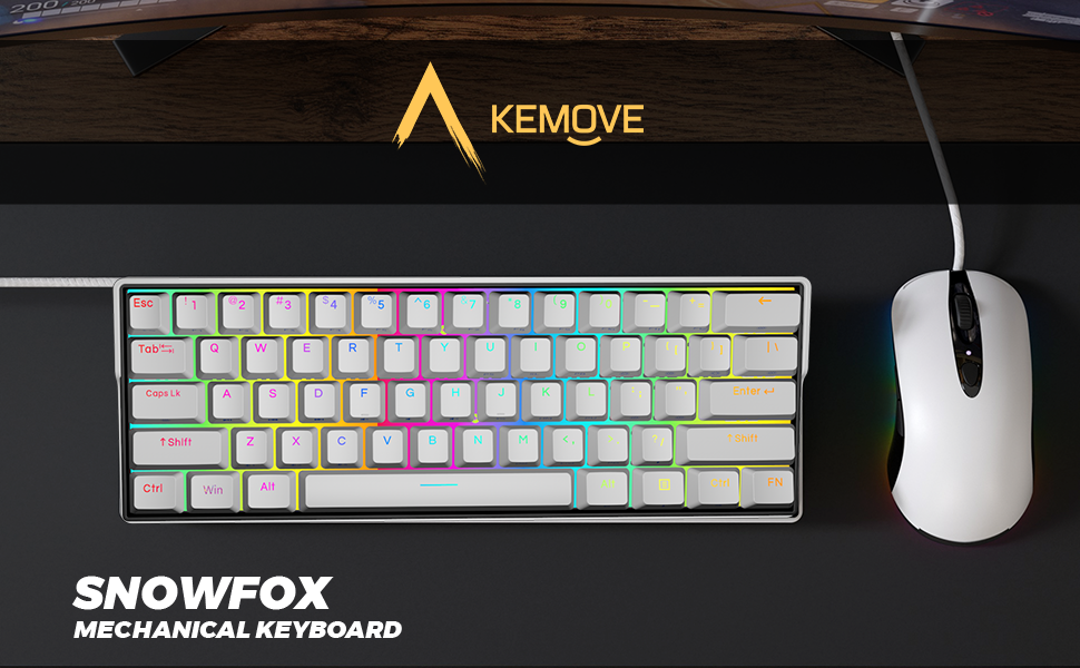 KEMOVE 61 mechanical keyboard bluetooth 5.1 hot swappable switch compact classic 60% 61keys minimal