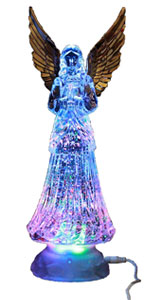 handmade angel pottery angel angel figurine collectable angel yellow purple angel Dark skinned waving angel