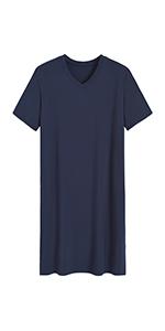 mens pajama shirt short sleeve sleepshirt summer nightshirt bamboo viscose sleepwear loose nightgown