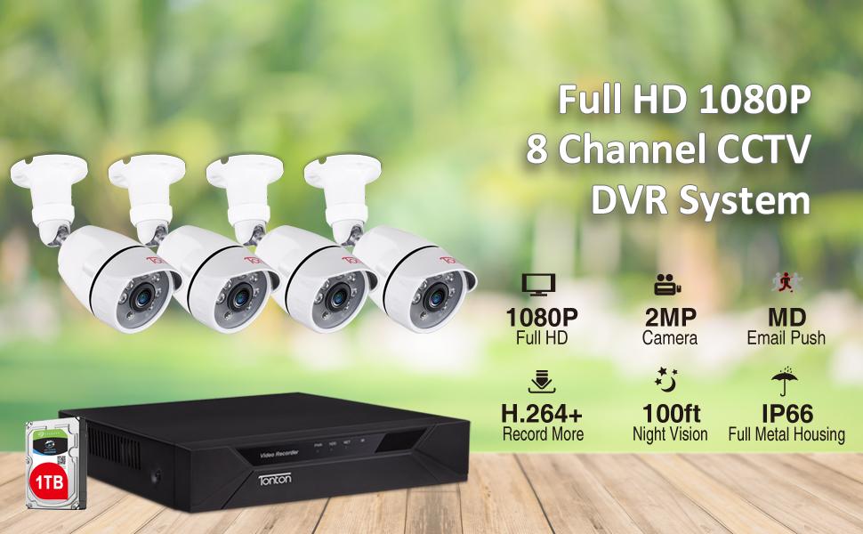 Tonton 8CH 1080P DVR 2MP CCTV Security Camera System Outdoor Night Vision HD