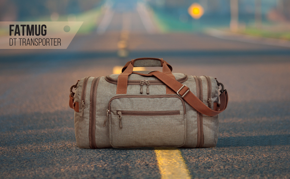 Travel Duffel kept on a road to signify it as your go to travel bag for vacations
