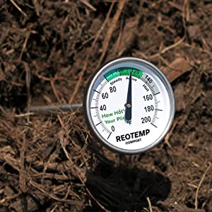 compost thermometer, soil thermometer, hay bale thermometer