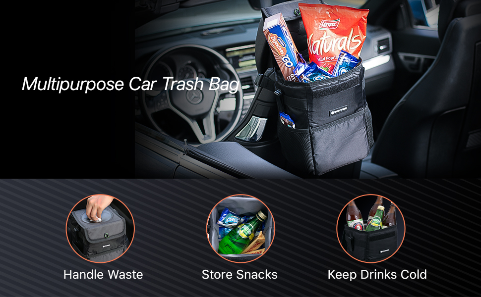 Saniwise Waterproof Car Trash Can with Lid and Storage Pockets