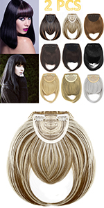 Clip in Bangs Hair Extensions Thick Full Neat Bangs Fringe Hair Extension