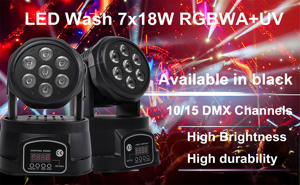 SHEHDS 7x18W LED Moving Head Light RGBW 6in1 DMX Wash Light 7/15 DMX Channels Disco Lights