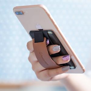 ブラウン 落下防止 スマホバンド スマホストラップ 携帯ホルダー スマホポーチ スマホケース カード入れ スマホ背面カードスロット IDカード ICカード 交通カード 免許証 クレジットカード ギフト