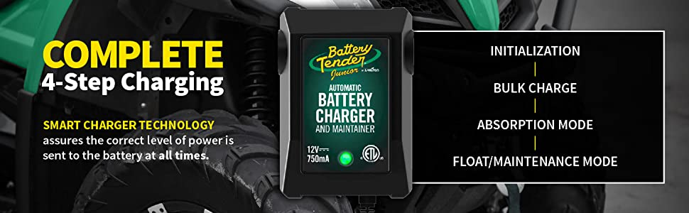 Complete 4-step battery charging goes from initialization to float or maintenance charging.