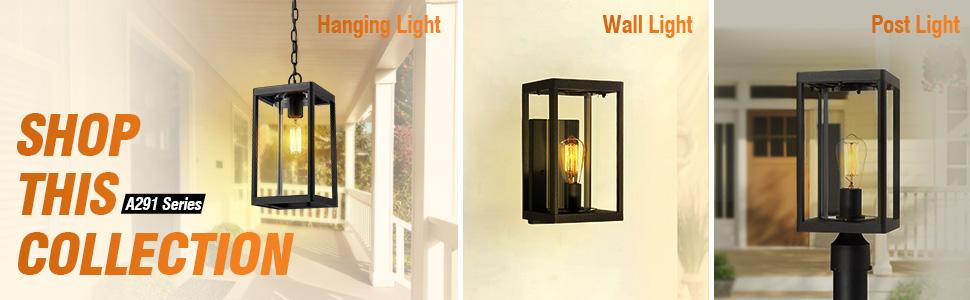 Beionxii Outdoor Wall Sconces Modern Exterior Porch Light Wall Mount Lantern Black Aluminum