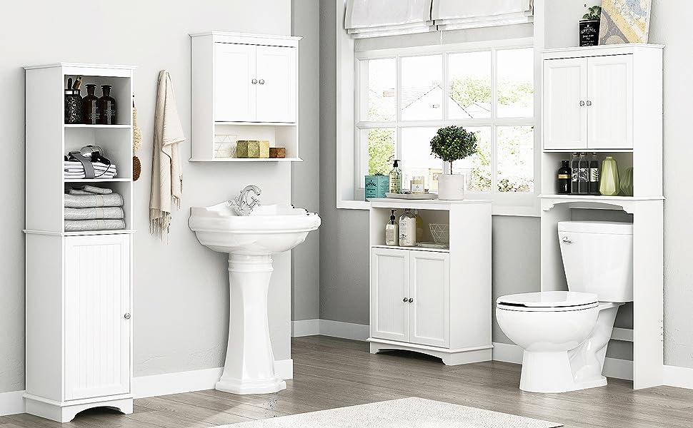Spirich Home Bathroom Shelf Over-The-Toilet, Bathroom SpaceSaver, Bathroom Storage Cabinet Organizer