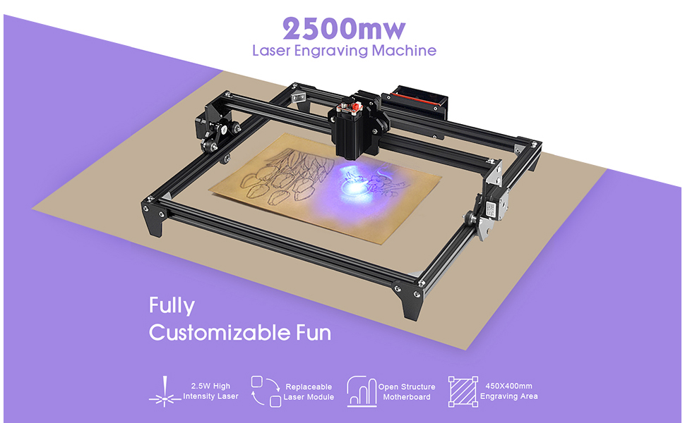 2500mW 50x40cm Large Area Engraver Kits DIY CNC 2.5W USB Upgraded 2 Axis Desktop Printer Used As Carving Engraving Cutting Machine for Leather Wood Plastic 0.01mm Accuracy Laser Engraving Machine