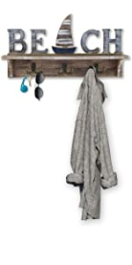 Beach Sign Key Holder for Wall Mounted Coat Rack with Shelf