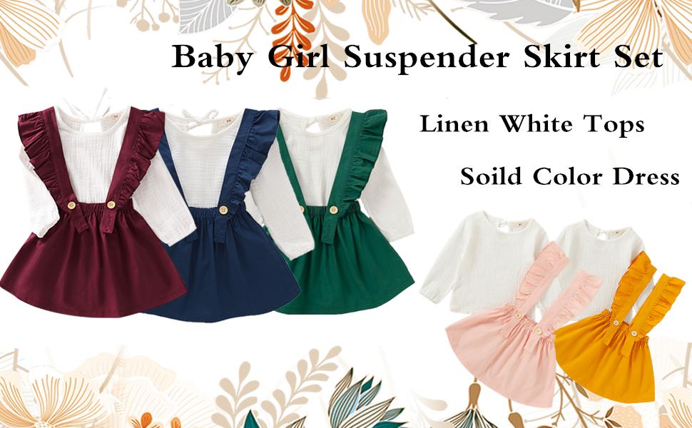 baby girl suspender skirt set
