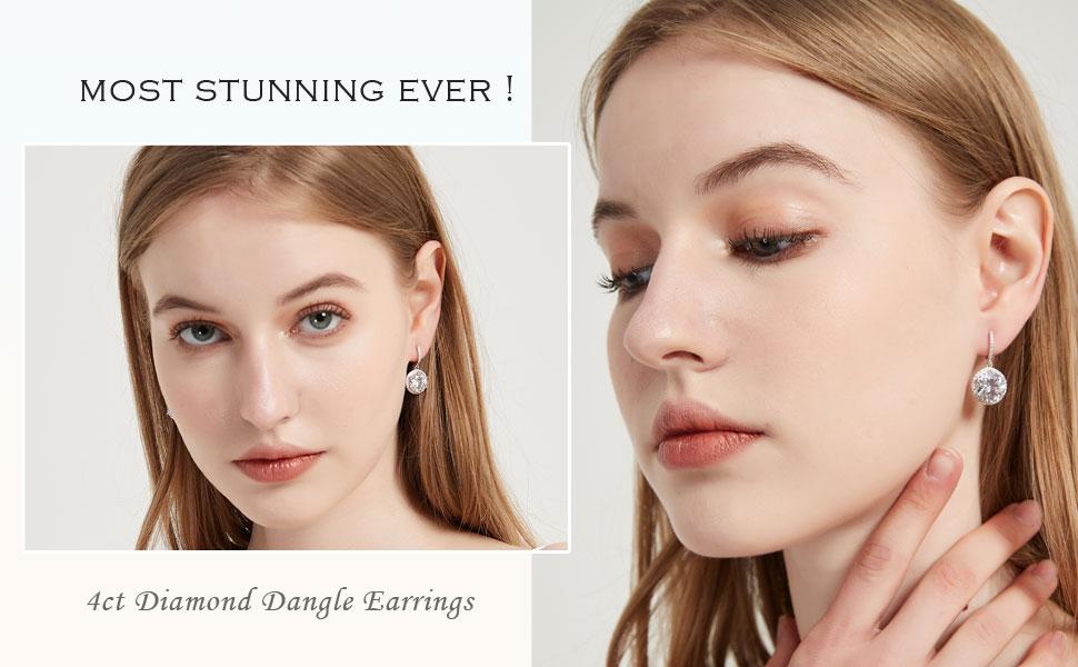4ct diamond drop earrings silver